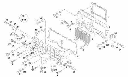 Ölkühlergehäuse Zusammenbau MAN2842